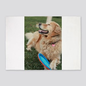 Nala the golden retriever playing o 5'x7'Area Rug